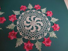 Pair of Vintage Handmade Crochet DOILIES with Dimensional Variegated Pink ROSES - Hand Crocheted Doily