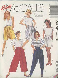 Vintage Misses Split Skirt or Pants various lengths Mccalls 5456 Size 10 Uncut OOP