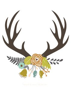 FREE Antler print, perfect for fall! | via LollyJane.com                                                                                                                                                                                 More
