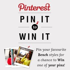 #pinittowinit #benchcanada #benchclothing #contest  1) Follow Bench.ca 2) Go to Bench.ca and pin 3-5 styles while creating a bench named #STYLEMEBENCH 3)Tag your styles #STYLEMEBENCH!  lets go! Bench Canada, Bench Clothing, Style Me, Your Style, Letting Go, Names, Let It Be, Board, Lets Go