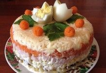 Фантастически вкусный салат «Королевский» с ветчиной и грибами