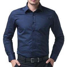 PAUL JONES Mens Casual Slim Fit Dress Shirts Navy Blue(XL)