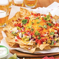 Nachos are the perfect snack for hockey night—and with this version, you get double the protein! Italian Recipes, Mexican Food Recipes, Ethnic Recipes, Primal Recipes, Healthy Recipes, Salty Foods, Food Tags, Protein, Appetizer Salads
