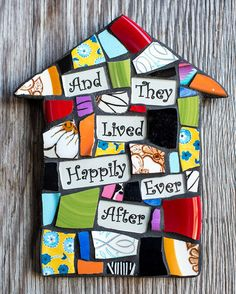 Mosaic House with They Lived Happily Ever After Greeting on Etsy, $38.95