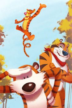 Calvin and Hobbes fan art, Tigers! Hobbes hangs out with Tigger and Tony. Geeks, Kung Fu, Calvin E Hobbes, Brother From Another Mother, Three Best Friends, Daisy, Cool Cats, Cartoon Characters, Anime