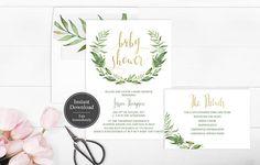 Wreath Baby Shower Invitation