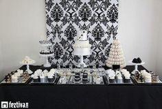 mesa de dulces para boda en blanco y negro - Buscar con Google