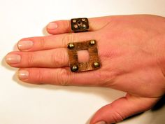 Square . Large statement ring adjustable copper by BaccaraSilver