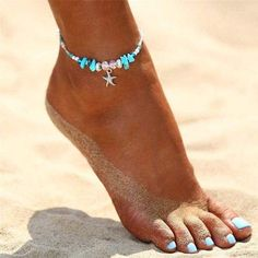 Bohemian Starfish Beads Stone Anklets Boho Silver Color Chain Bracelet On Leg Beach Ankle Jewelry Gifts Grace Kelly, Fashion Bracelets, Fashion Jewelry, Purvida Bracelets, Fashion Fashion, Bohemia Fashion, Unique Bracelets, Bridal Fashion, Fashion Spring