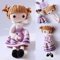 Kayla done by participant of my Weibo crochet activity, 醉梦櫻花. Purple color skirt , so beautiful!