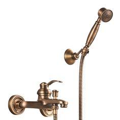 浴室シャワー混合栓 バス水栓 ハンドシャワー付 蛇口付 壁付 ブラス色