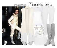 Princess Leia by leslieakay on Polyvore featuring polyvore, мода, style, Frame, WearAll, Halston Heritage, Mansur Gavriel, Jennifer Meyer Jewelry, fashion, clothing, disney, disneybound, starwars, disneycharacter and princessleia