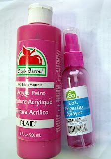 DIY Spraypaint:  All you need is a spray bottle and acrylic paint. Mix 2 parts paint to 1 part water and shake to mix.