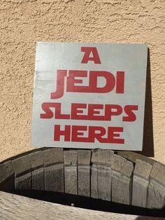 A jedi sleeps tonight wood sign - star wars bedroom decor - kids bedroom wall hanging - Star Wars nursery decoration - geekery home decor