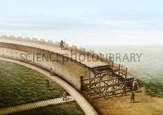 Artwork showing the construction of the wall of one of the circular Viking fortresses known as trelleborgs. Medieval, Fantasy City, Norse Vikings, Viking Age, Fortification, Picts, Dark Ages, Garden Bridge, Illustration
