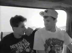 """Joey & Donnie.  Joe trying to tell Donnie that he has something stuck in his teeth.  At the end Donnie juts says """"I don't care"""".  I remember this video perfectly (sigh)."""