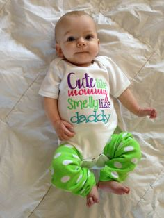 Sayings Cute Like Mommy Smelly Like Daddy   This listing is for a custom Cute like mommy Smelly like Daddy shirt. This design is machine embroidered directly on to the shirt. No stickers or iron ons used at our shop.   You can add a M2M (made to match) hair bow during checkout if you like.   Comes in sizes:  Onesies: 0-3 month, 3-6 month, 6-12month  Shirt: 12m, 18m, 24m 3T, 4T 5/6, 6x, S, M, L