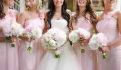 white hydrangea, pink peony wedding bouquets