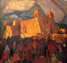Church at Ranchos painting (1921-9) by Ernest L. Blumenschein at Blumenschein Home & Museum. Taos, NM.