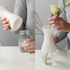 design vase upcycling project old glasses bottle . design vase upcycling project old glasses bottles Upcycled Crafts, Diy And Crafts, Impression 3d, Lace Vase, 3d Templates, Vase Deco, Reuse Plastic Bottles, Reuse Jars, 3d Printing Diy