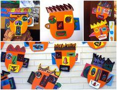 ALUMNES DE 2n ( 7- 8 anys)     Aprofitant retalls de cartolina, els nens i nenes de segon han elaborat aquestes cares, una mica picassi...