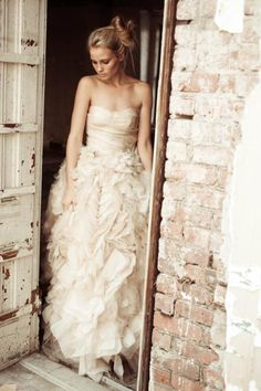 Champagne Colored Ruffles for a strapless wedding dress