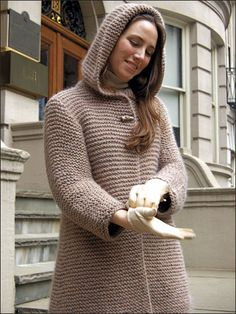 Knitting - Patterns for Wearables - Jacket & Coat Patterns - Hooded Swing Jacket to Knit