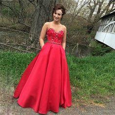 Beautiful Lace Sexy Beaded Crystal Long Red Prom Dresses vestidos de formatura longo ballkleider galajurken