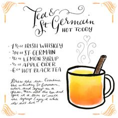 Tea + St-Germain Hot Toddy Cocktail Recipe Card, Illustration by Shauna Lynn for Oh So Beautiful Paper
