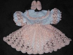 Beautiful Lacy Pink & White baby ensemble - Free Crochet Patterns: Free Crochet Baby Dresses Patterns