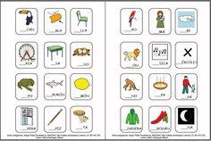 MATERIALES - Cartilla de lectura fotosilábica: Completar mayúsculas. Cartilla de lectura fotosilábica, se presentan tres materiales, en el primero aparecen el conjunto de imágenes que representan cada una de las sílabas directas del alfabeto asociadas a la palabra que contiene dicha sílaba. En un segundo documento se asocia la imagen solamente con la sílaba. http://arasaac.org/materiales.php?id_material=1075