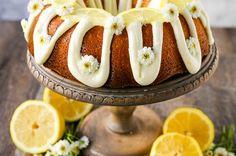 Moist, flavorful lemon bundt cake with a fresh cream cheese lemon glaze. Tips and tricks for making the perfect lemon bundt cake. New Year's Desserts, Spring Desserts, Delicious Desserts, Dessert Recipes, Party Desserts, Cupcake Recipes, Dessert Ideas, Yummy Food, Lemon Bundt Cake