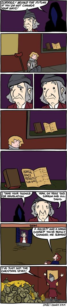 The Repentance of Ebenezer Scrooge - Neatorama Funny Images, Funny Pictures, Smbc Comics, Funny Memes Tumblr, Ebenezer Scrooge, Haha Funny, Funny Stuff, Funny Things, Hilarious