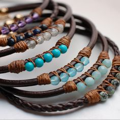 leather gem bracelets IV
