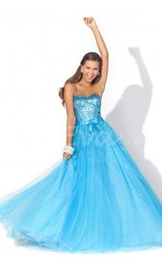 Fancy A-Line Strapless Sweetheart Long Prom Dresses with Sequined Bow. $169.95 Love it