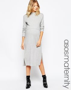 ASOS+Maternity+Midi+Dress+With+Double+Layer+In+Rib+With+High+Neck