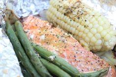 Salmon Tin Foil Dinner Recipe. Perfect camping food!