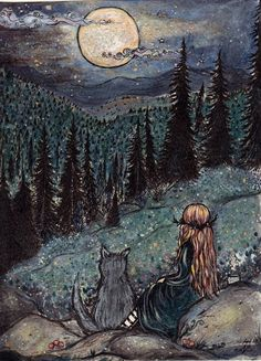 ArtbyLadyViktoria 'Quiet Magick in the Gloaming' Art And Illustration, Inspiration Art, Art Inspo, Arte Obscura, Witch Art, Witch Painting, Witch Drawing, Arte Horror, Moon Art