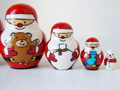 Santa Claus Snowman Nesting Doll