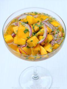 Simple mango ceviche with citrus habanero sauce Simple mango ceviche with citrus habanero sauce Gout Recipes, Mango Recipes, Raw Food Recipes, Veggie Recipes, Mexican Food Recipes, Vegetarian Recipes, Cooking Recipes, Healthy Recipes, Cooking Tips
