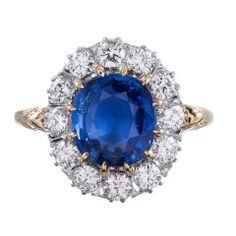 Classic Princess Diana Style  Sapphire Diamond Cluster Ring