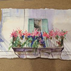 Balcony with flowers watercolour illustration