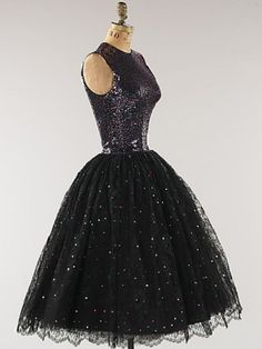 1950's sequined silk evening dress. by Norman Norell, ca. 1955.