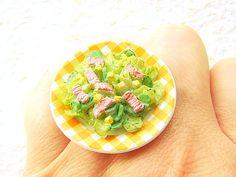 Kawaii Food Ring Salad Miniature Food Jewelry by SouZouCreations, $10.00