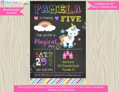 Rainbow Unicorn Birthday Invitation Invite rainbow by jcbabycakes