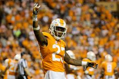Sep 1, 2016; Knoxville, TN, USA; Tennessee Volunteers defensive back Cameron Sutton (23) motions to the crowd during the second half against the Appalachian State Mountaineers at Neyland Stadium. Tennessee won in overtime 20-13.  (2880×1927)