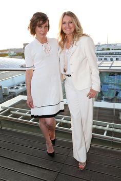 Pin for Later: Seht alle Stars bei der Berlin Fashion Week Milla Jovovich und Frauke Ludowig bei der Modenschau von Marc Cain