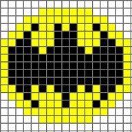 Free Batman Logo Cross Stitch Chart or Hama Perler Bead Pattern Crochet Pixel, Tapestry Crochet, Tunisian Crochet, Crochet Chart, Crochet Stitches, Free Crochet, Crochet Granny, 8 Bit Crochet, Pixel Crochet Blanket