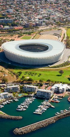 The cape Town Stadion near Indian Ocean in Cape Town, South Africa Discover why Millions of Tourists visit South Africa Visit South Africa, Cape Town South Africa, Out Of Africa, Africa Travel, Kenya, Beautiful Places, Around The Worlds, City, Soccer Stadium