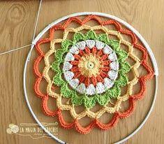 ergahandmade: Crochet Mandala + Free Pattern + Diagram Knitting ProjectsKnitting For KidsCrochet Hair StylesCrochet Baby Motif Mandala Crochet, Crochet Circles, Crochet Shawl, Crochet Doilies, Crochet Flowers, Crochet Stitches, Crochet Patterns, Crochet Diagram, Crochet Wall Art